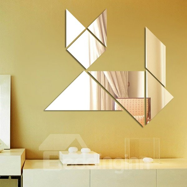 Creative Cute Dog Plastic Mirror Wall Stickers