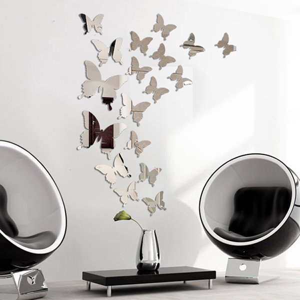 amazing acrylic butterfly pattern mirror wall stickers. Black Bedroom Furniture Sets. Home Design Ideas