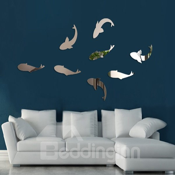 Fancy Acrylic Mirror Fishes Pattern Decorative Wall Stickers