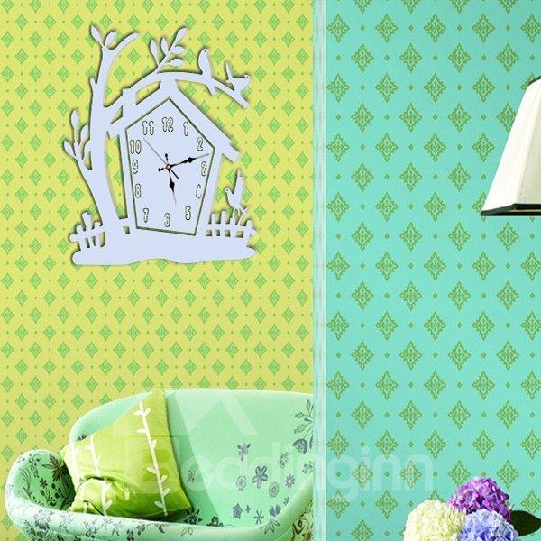 Amazing White Acrylic Tree House Pattern Decorative Wall Stickers
