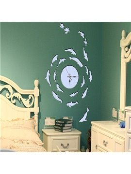 Amusing White Creative Clock and Fishes Prints Decorative Wall Stickers