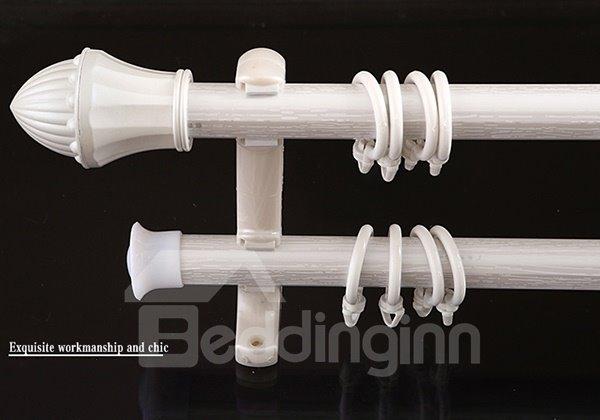 Side Mounted Aluminium Alloy Pearl White Single Double Curtain Rod Set