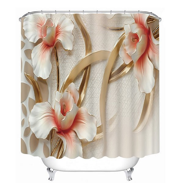 Three Relief Flowers Print 3D Bathroom Shower Curtain
