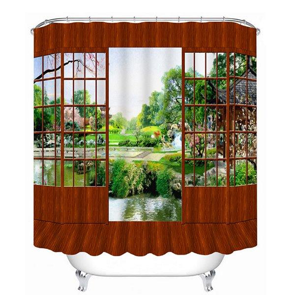 Classic Wooden Door and Beautiful Scenery Outdoor Print 3D Bathroom Shower Curtain