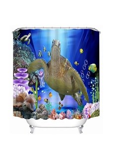 A Big Sea Turtle Swimming Print 3D Bathroom Shower Curtain