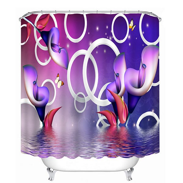 Special Design Purple Calla Lilies Print 3D Bathroom Shower Curtain