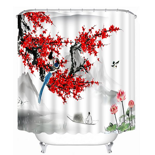 A Magpie Standing on the Red Plum Blossom Tree Print 3D Bathroom Shower Curtain