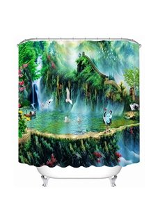 Ancient Chinese Hermit Life with Cranes Print 3D Bathroom Shower Curtain