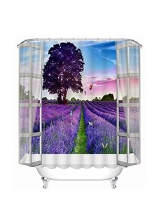 Purple Grassland out of the Wall Print 3D Bathroom Shower Curtain
