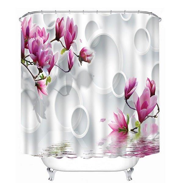 Purple Flowers and White Circles Print 3D Bathroom Shower Curtain