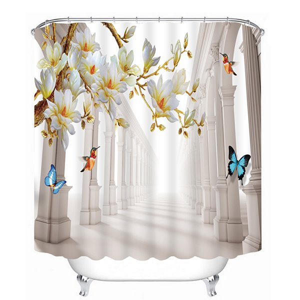 Colorful Butterflies Flying between the Peach Blossoms Print 3D Bathroom Shower Curtain