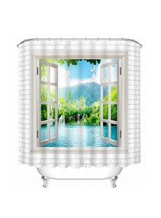 Beautiful Water and Tree out of the Window Print 3D Bathroom Shower Curtain