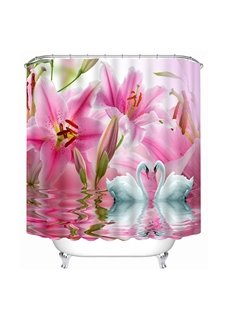 Couple White Swans with Love in front of the Pink Lily Flowers Print 3D Bathroom Shower Curtain