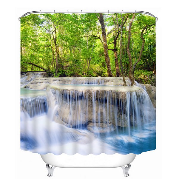 Rushing Waters and Green Trees Print 3D Bathroom Shower Curtain