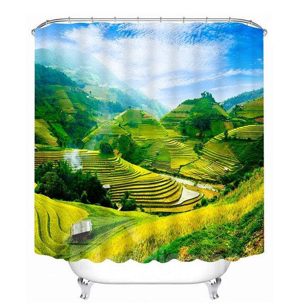 The Beautiful Terraced Fields Print 3D Bathroom Shower Curtain