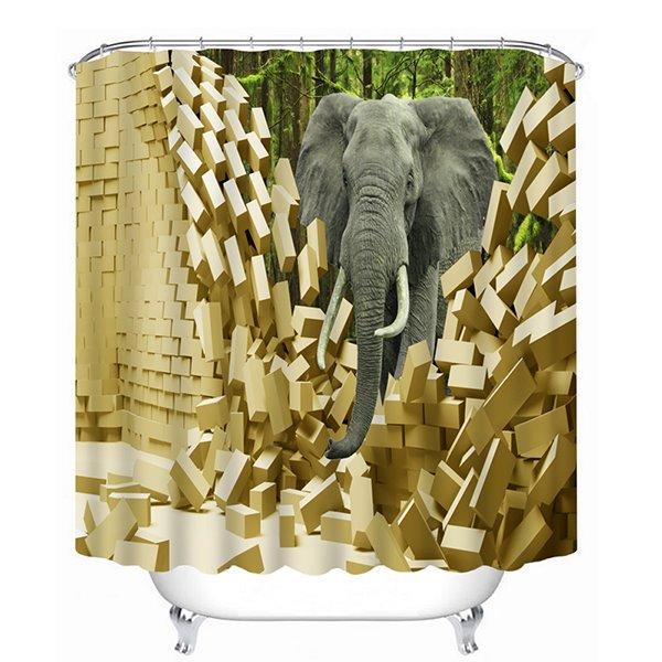 An Elephant Breaking the Wall Print 3D Bathroom Shower Curtain