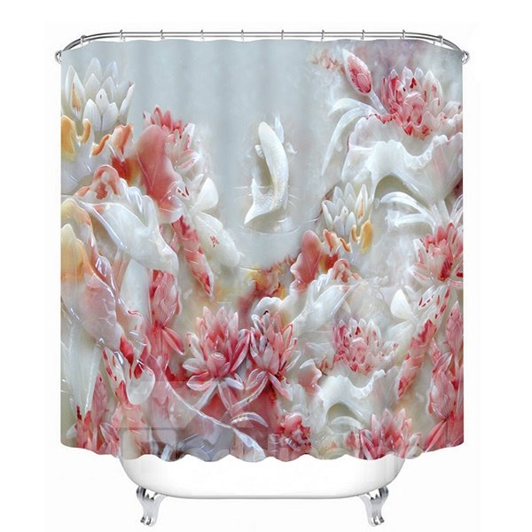 Jade Carving Flowers Pattern 3D Bathroom Shower Curtain