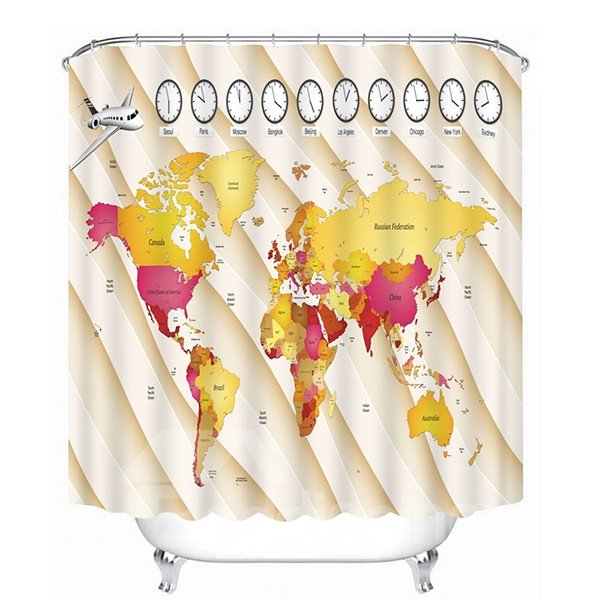 Educational Time Zones of the World Print 3D Bathroom Shower Curtain