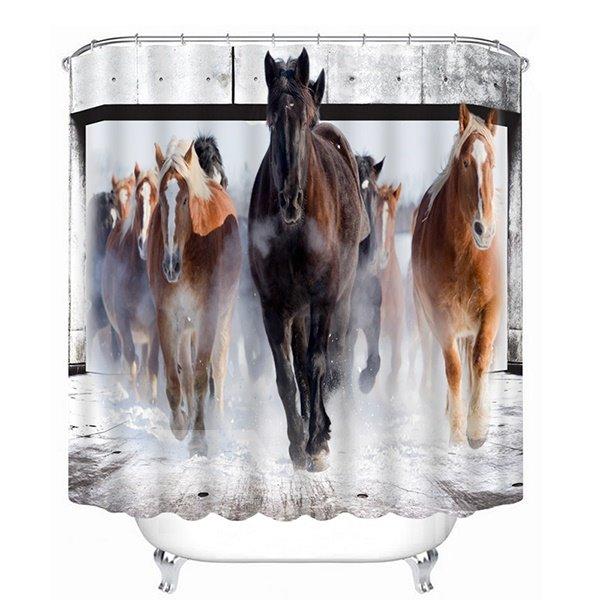 A Group Horses Running Print 3D Bathroom Shower Curtain