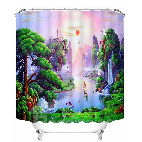 Mountain and Flowing Water Print 3D Bathroom Shower Curtain