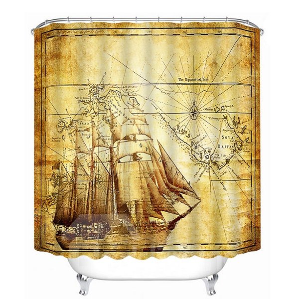 Hand-Painted Boat Trains Sailing Print 3D Bathroom Shower Curtain