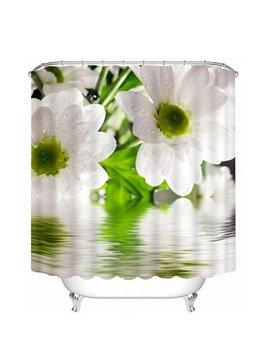 Lovely White Pear Flowers Print 3D Bathroom Shower Curtain