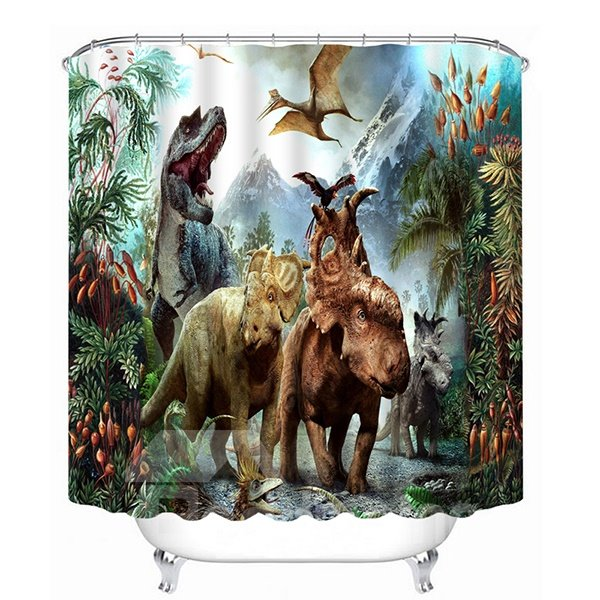 Chic Fiercely Dinosaurs Print 3D Bathroom Shower Curtain