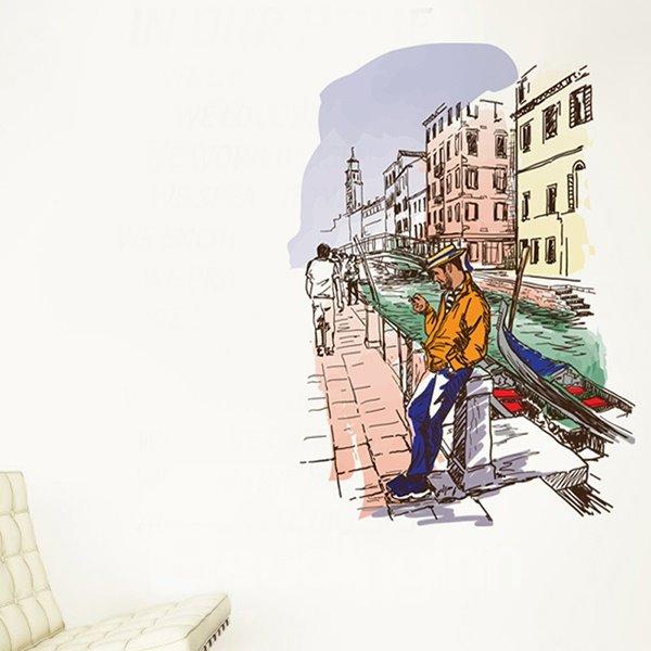 Decorative Leisurely City Scenery Pattern Wall Sticker
