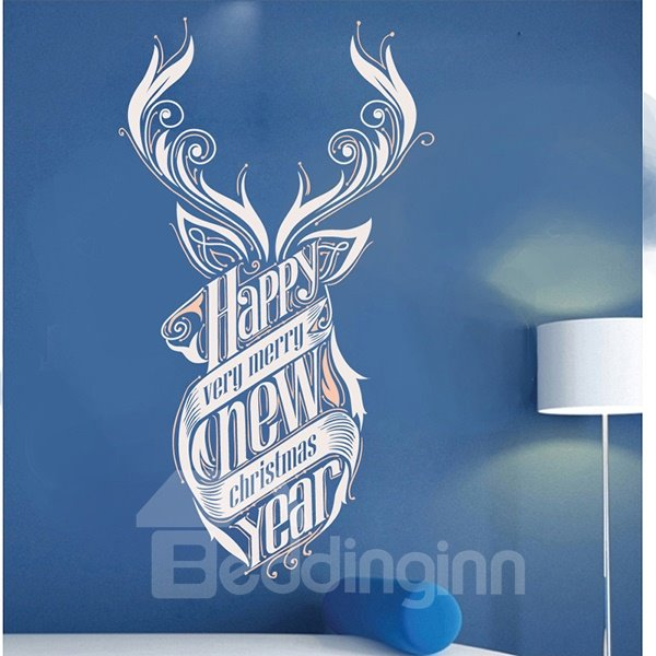 Amusing Happy New Year Pattern Wall Sticker