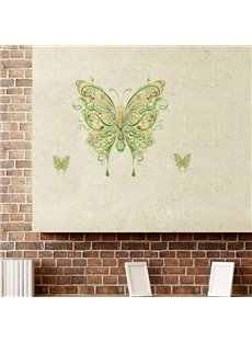 Green Butterfly Pattern Countryside Style Wall Sticker