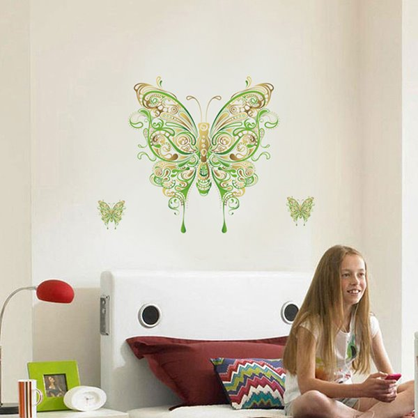 Green Butterfly Pattern Countryside Style Wall Sticker