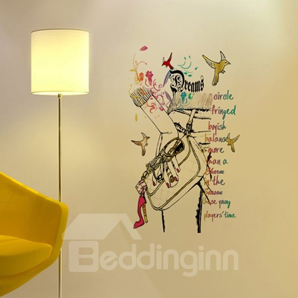 Modern Fashion Handbag and Birds Pattern Wall Sticker