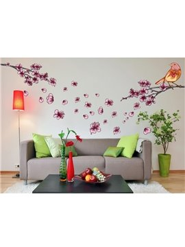 Pink Plum Blossom and Bird Pattern Wall Stickers