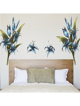 Beautiful Polyvinyl Chloride Blue Lily Wall Stickers