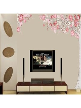 Beautiful Pink Flower Tree Pattern Wall Stickers
