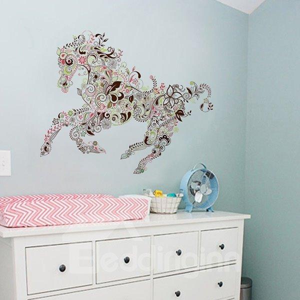Wonderful Decorative Digital Running Horse Pattern Wall Sticker