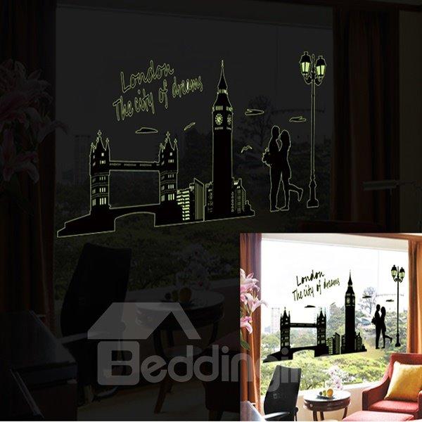 Wonderful Romantic Noctilucent London Scenery Pattern Wall Sticker