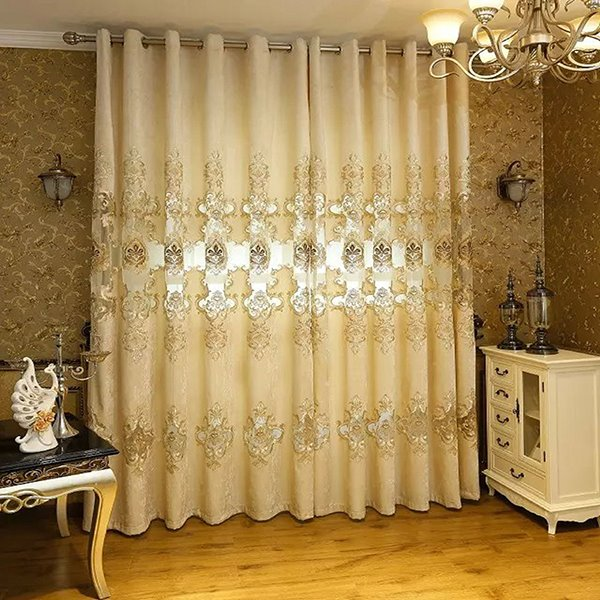 Classic Chenille Embroidered Grommet Blackout Curtain Panel