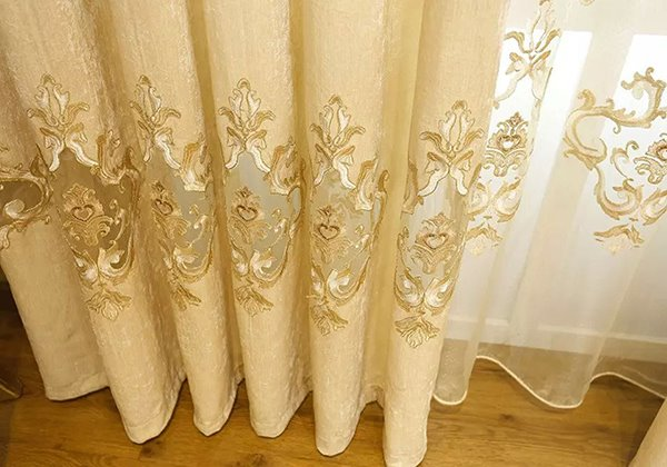 Classic Chenille Embroidered Grommet Top Curtain Panel