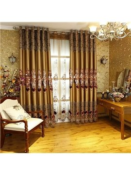 Luxury European Embroidery Faux Silk Grommet Blackout Curtain Panel
