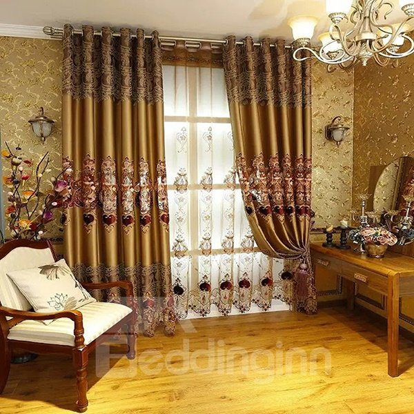 Luxury European Embroidery Faux Silk Grommet Top Curtain Panel
