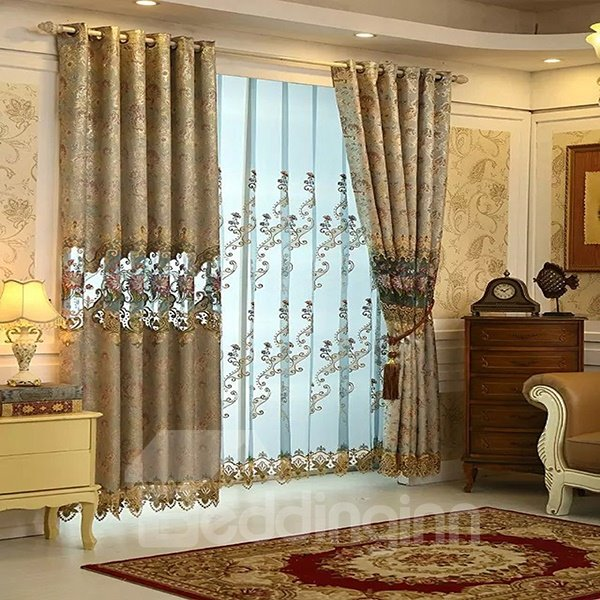 Colorful Silk High-Precision Embroidered Cloth Grommet Top Curtain Panel