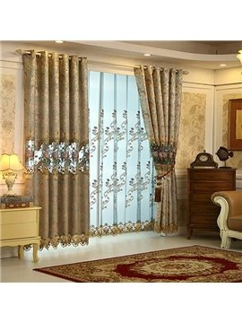 Colorful Silk High-Precision Embroidered Cloth Grommet Blackout Curtain Panel