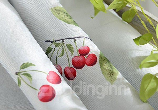 Duplex Printing Cherries Pattern Grommet Highly Blackout Curtain Panel