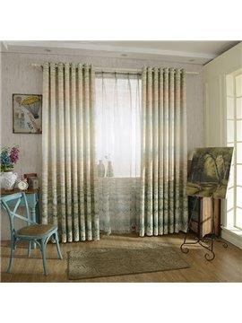 Jacquard Crash Matelasse Gradient Color Grommet Blackout Curtain Panel