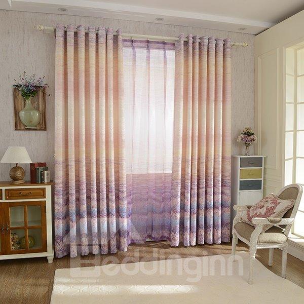 Jacquard Crash Matelasse Gradient Color Grommet Top Curtain Panel
