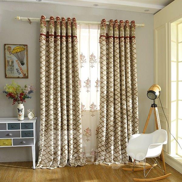 Concise Chenille Jacquard Grommet Top Blackout Curtain Panel