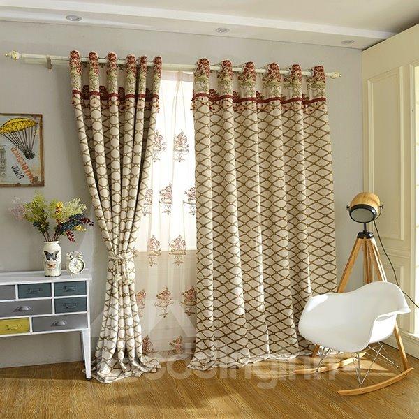 Concise Chenille Jacquard Grommet Blackout Curtain Panel
