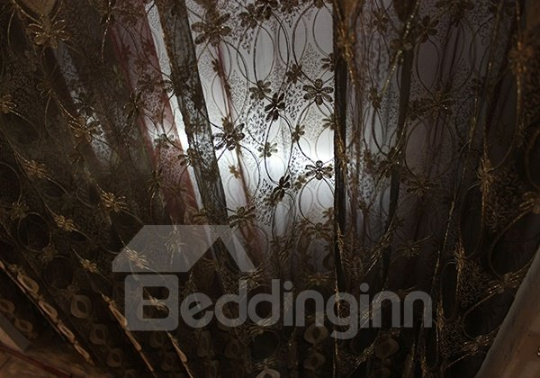 Elegant Gold Embroidery Custom Sheer Curtain