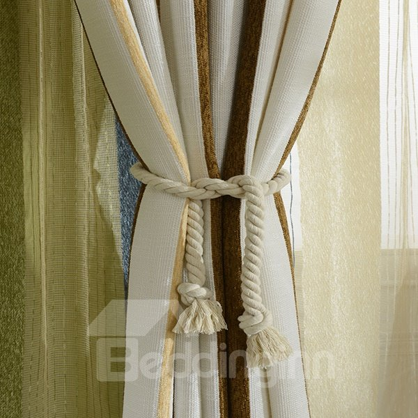 Rustic Chenille Linen Cloth Grommet Top Curtain Panel